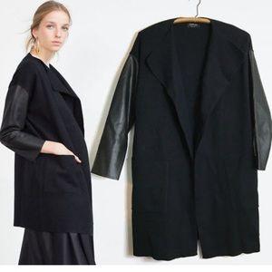 Zara Knit Cardigan w/ faux leather sleeves